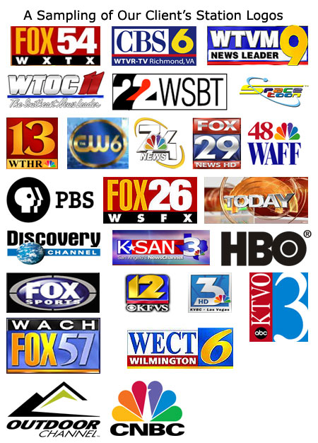 Some of the logos of our television station clients.