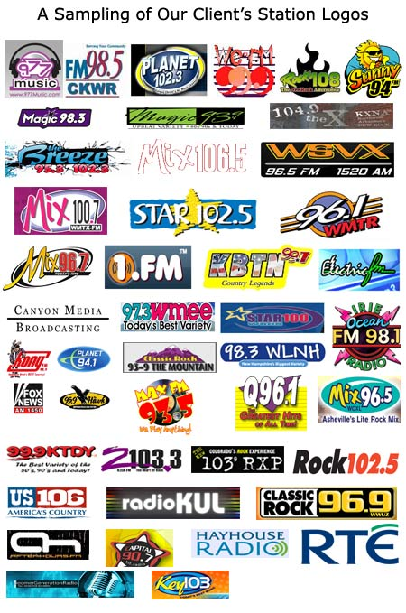 Radio station logos from some of our radio imaging clients.